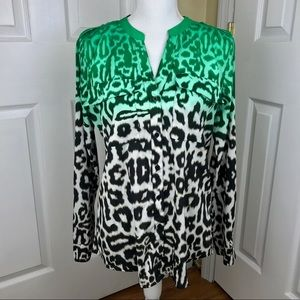 Calvin Klein Ombre Animal Print Roll-Tab Blouse